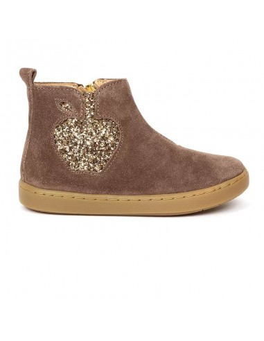 Bottines filles velours taupe Play Apple