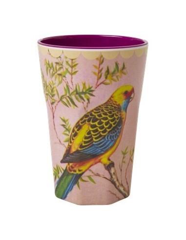 Grand verre imprimé perruche multicolore