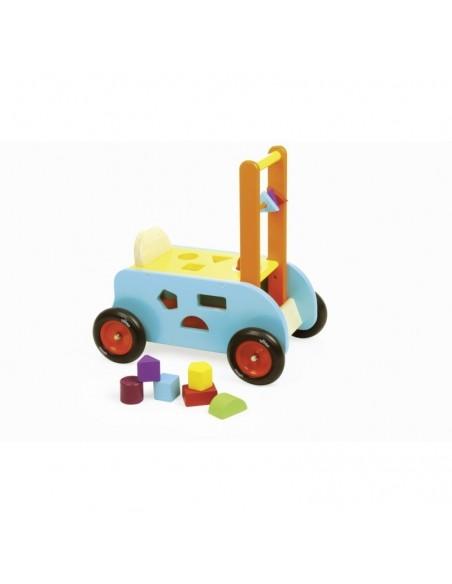 Chariot de marche en bois 3 en 1 pousseur multi-activités