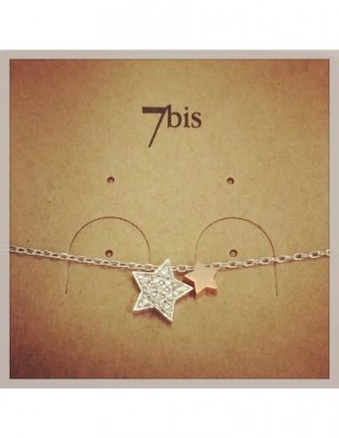 Bracelet double Etoile Argent dont 1 strass 7Bis