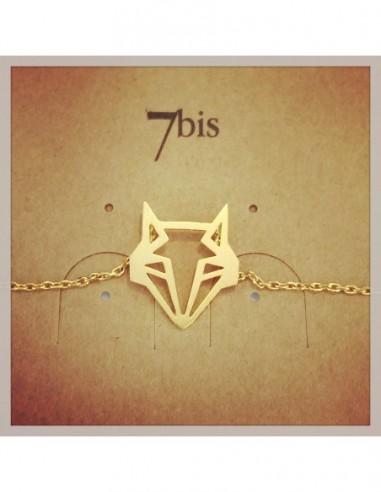 Bracelet fin animal tete de renard doré - 7BIS