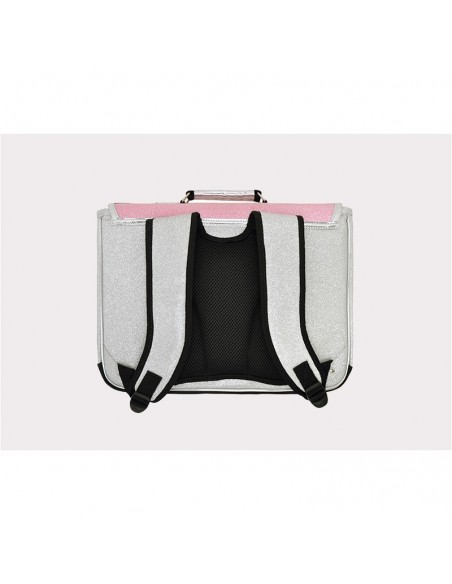 Cartable GM bicolore argent fushia