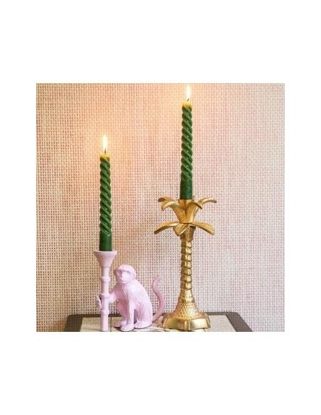 Bougeoir en métal en forme de palmier - Or