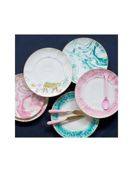 Assiette à dessert en porcelaine - Imprimé marbre - Jade