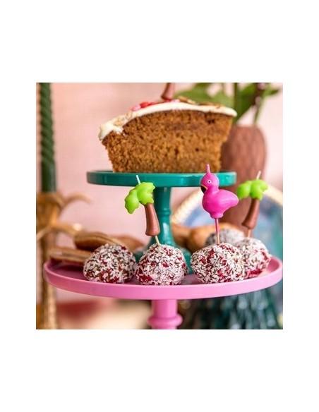 Bougies pour gâteaux en rose - En forme de flamant rose - 4 pcs.