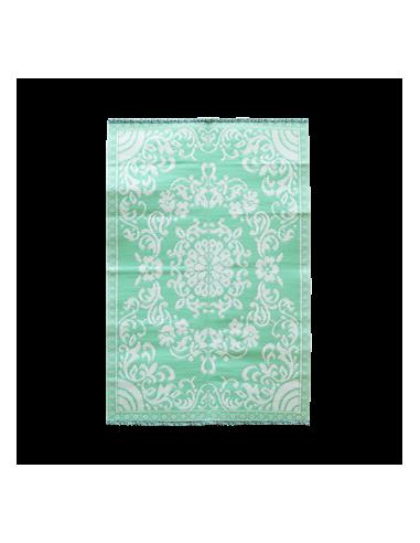 Tapis de sol MM en plastique avec motif cercle de fleurs - menthe et crème