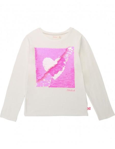 T-shirt fantaisie à sequin coeur Blanc