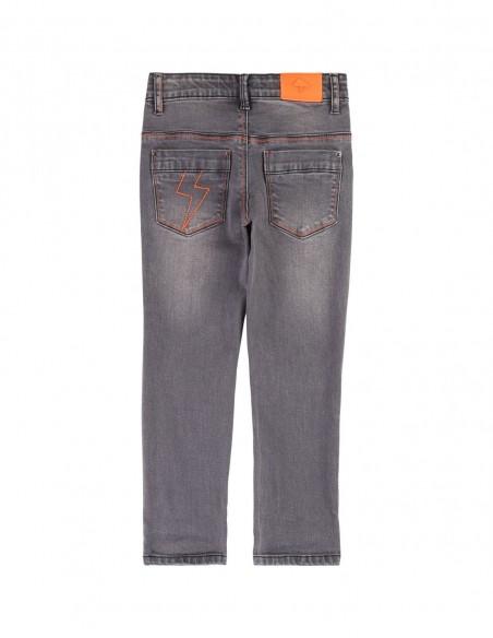 Pantalon coton denim ajustable Gris