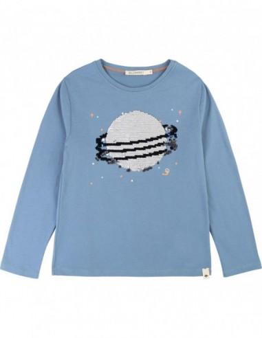 T-shirt coton motif en sequins Bleu orage