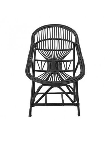 Chaise longue Joline, noir, canne