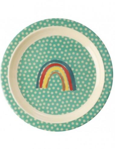 Assiette pour enfants en mélamine - Imprimé arc-en-ciel et étoiles
