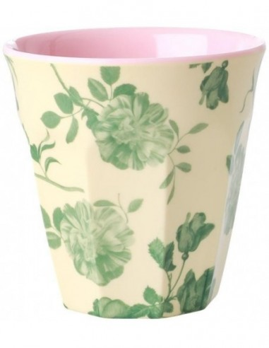 Tasse en mélamine moyenne - Imprimé rose verte