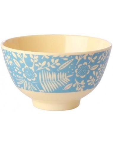 Petit bol en mélamine - Fougère bleue et imprimé de fleurs