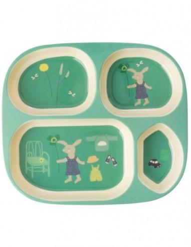 Assiette 4 Pièces pour Enfants en Mélamine - Imprimé Lapin