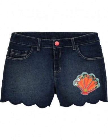 Short en denim bas festonné