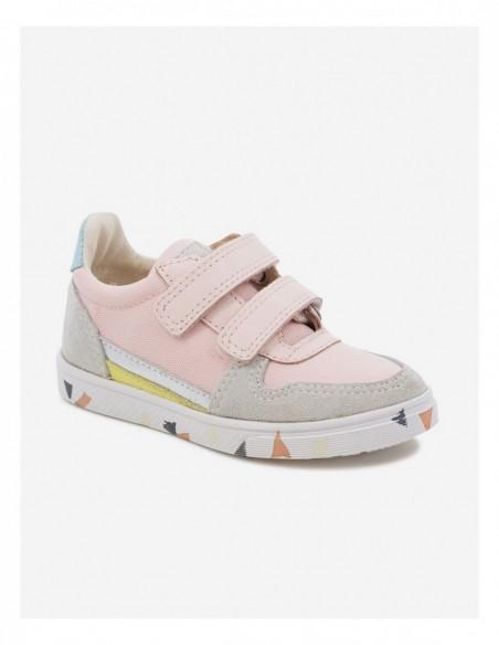 Chaussure Ten B Sk8 Cuir Lisse et Toile Nylon Rose