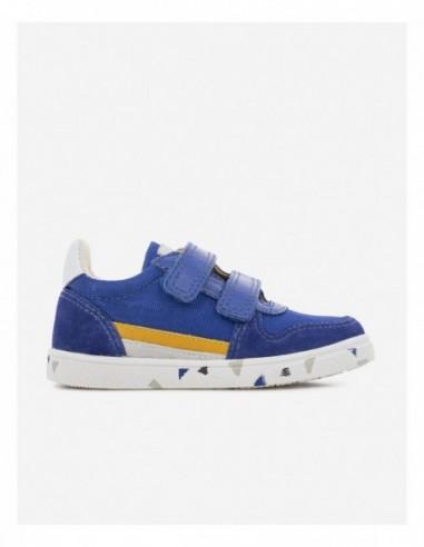 Chaussure Ten B Sk8 Cuir Lisse et Toile Nylon Bleu Roi Ocre Orange