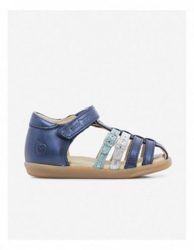 Chaussure Cuir Métallisé Bleu Marine Bleu Gris PIKA SPART