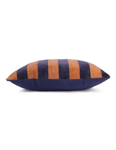 Coussin Velours rayé Bleu Orange