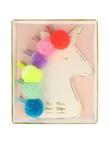 Hair clips pompon fluo