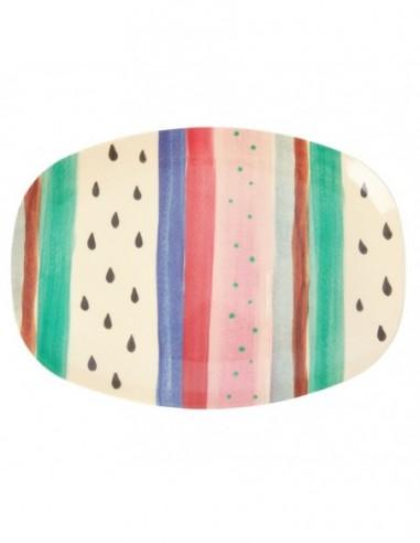 Assiette rectangulaire en mélamine, imprimé « Louise's Stripes »