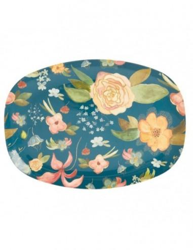Assiette rectangulaire en mélamine, imprimé « Fleurs d'Automne »