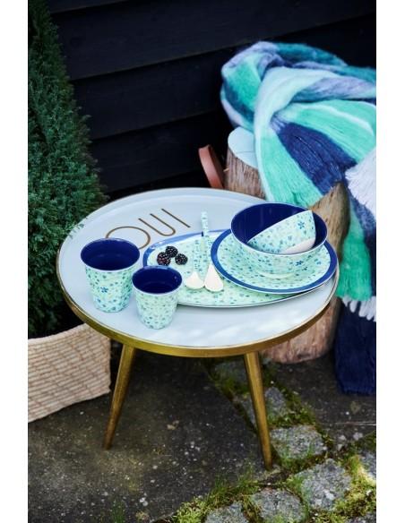 Assiette rectangulaire en mélamine imprimé « Blue Floral »