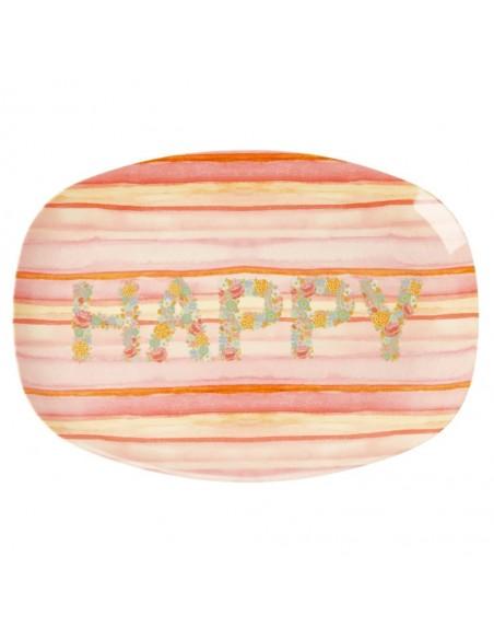Assiette rectangulaire en mélamine,  imprimé « Happy Pink »