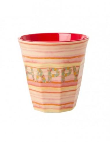 Gobelet en mélamine, imprimé « Happy Pink »