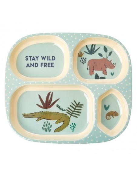 Assiette Enfant En Mélamine, 4 Compartiments, Imprimé « Jungle»