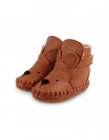 Chausson cuir OURS couleur marron foncé