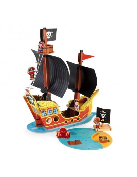 Bateau Pirates Story (carton et bois)