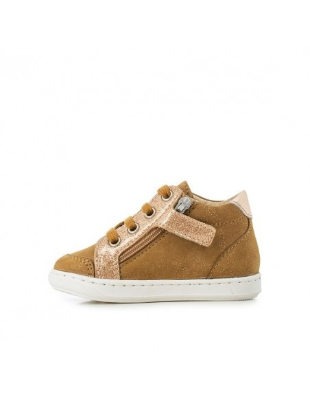 Chaussure Bouba Zip Box -Cuir Nubuck à Paillettes Camel