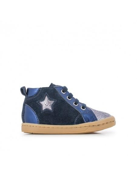 Chaussure Kikki Star Cuir Velours Bleu Marine