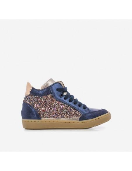 Chaussure Play Connect Toile à Gros Glitter Bronze - Cuir Métallisé Bleu Marine