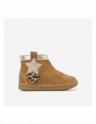 Chaussure Bouba Kid Cuir Velours Camel - Toile Glitter Platine