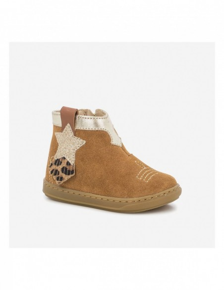 Chaussure Bouba Kid Cuir Velours Camel - Toile Glitter Platine