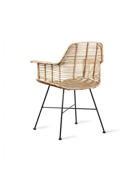 Chaise avec accoudoirs en rotin naturel