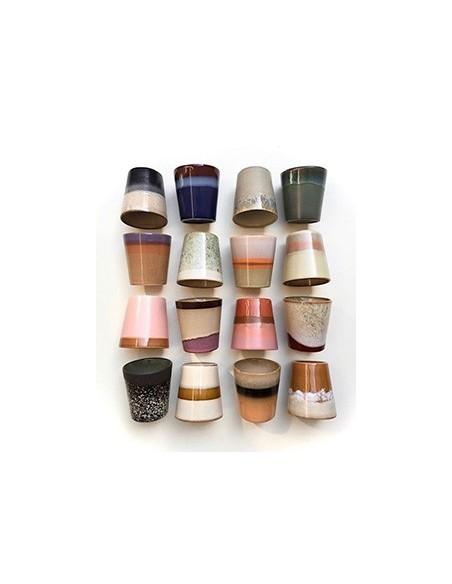 Mug céramique inspiration 70's Rose