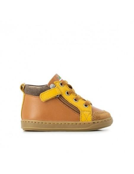Chaussure Bouba Bi Zip Cuir Lisse Camel - Cuir Velours Jaune