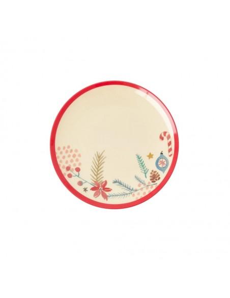 Petite assiette ronde en mélamine, imprimé motifs de Noël