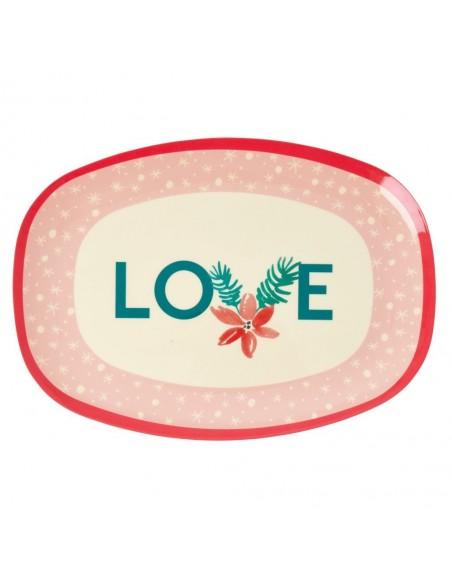Assiette rectangulaire en mélamine, imprimé « Love »