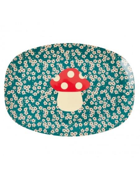 Assiette champignon rectangulaire en mélamine