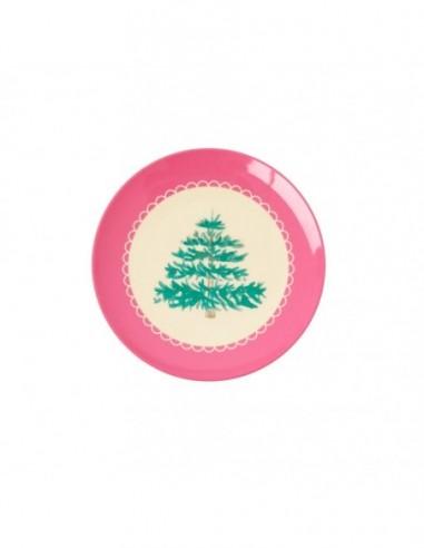 Petite assiette ronde en mélamine, imprimé avec sapin de Noël