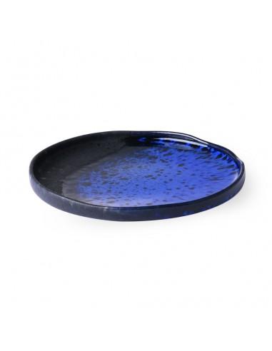 Assiette à dessert en céramique bleu cobalt / noir