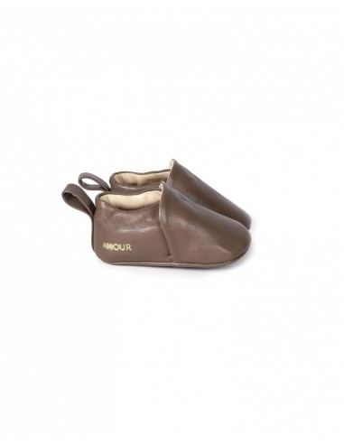 Chausson cuir couleur Taupe
